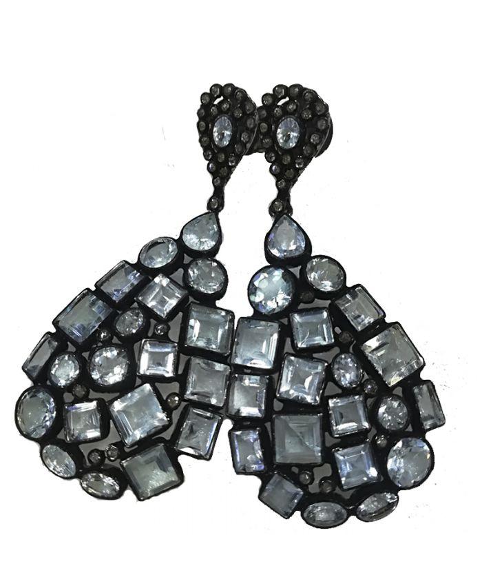 Серьги серебро с камнями алмаз
