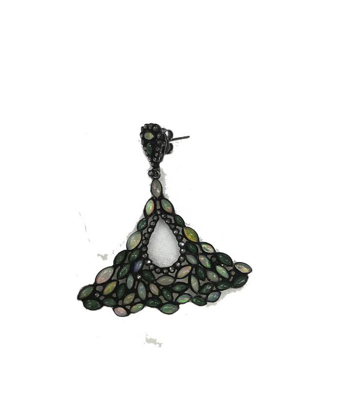 Серьги серебро с камнями Опал