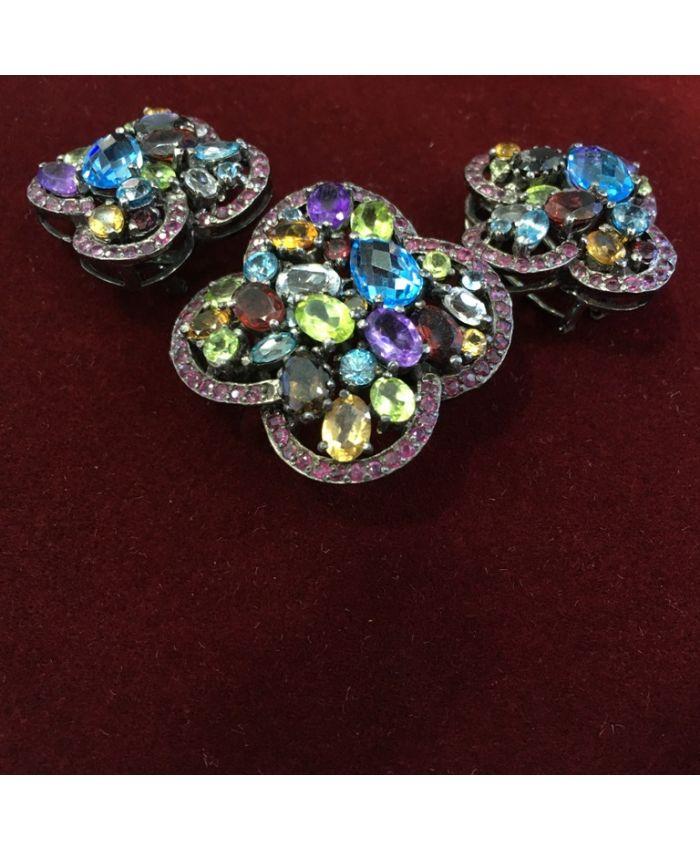 Ювелирные украшения из самоцветов в серебре