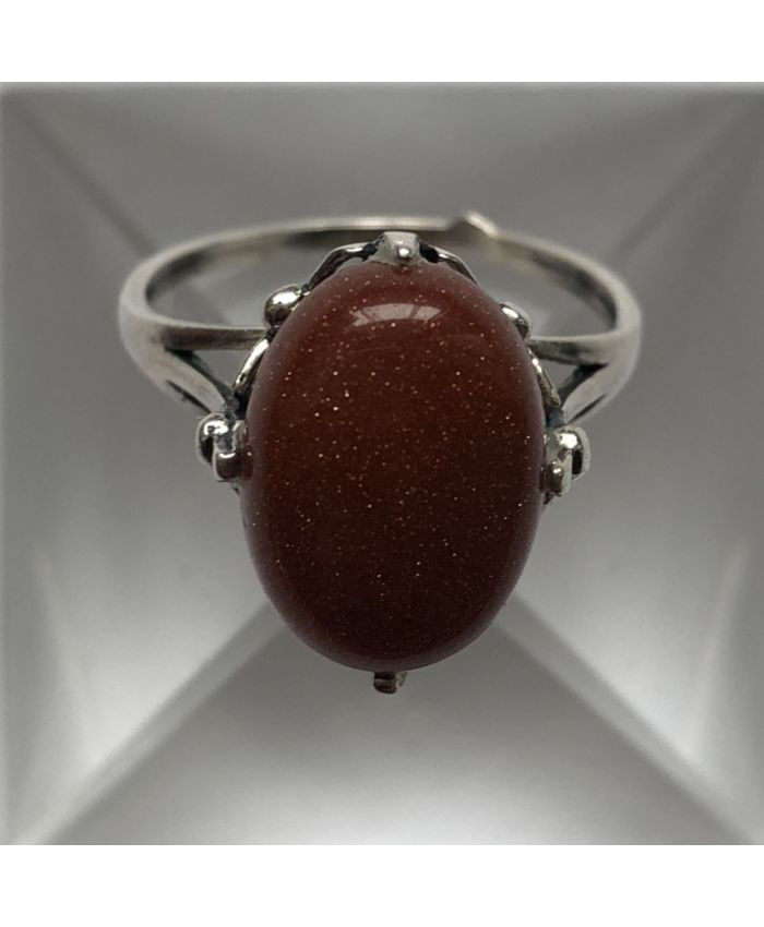 Кольцо с цирконом из серебра авантюрина