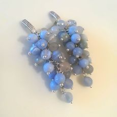 Серьги грозди из голубого агата 7см