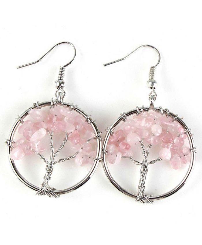 Серьги дерево жизни кварц розовый