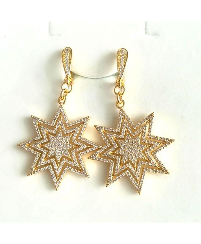 Серьги звезды c фианитами