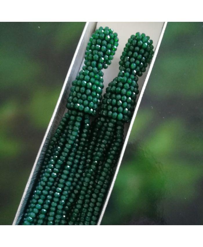 Серьги кисти из бисера зеленые длина 11 см