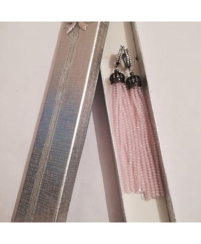 Серьги кисти из бисера хрустальных бусин розовые  длина 8 - 12см