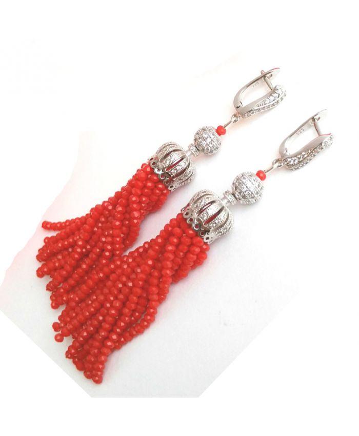 Серьги кисти из бисера хрустальных бусин красный длина 7см