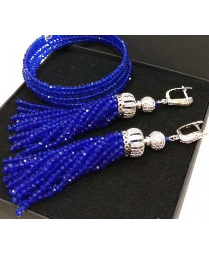 Серьги кисти из бисера хрустальных бусин синие длина 7см