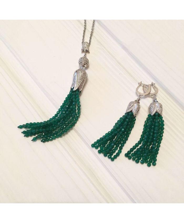 Серьги кисточки из бисера зелёный блеск агатов