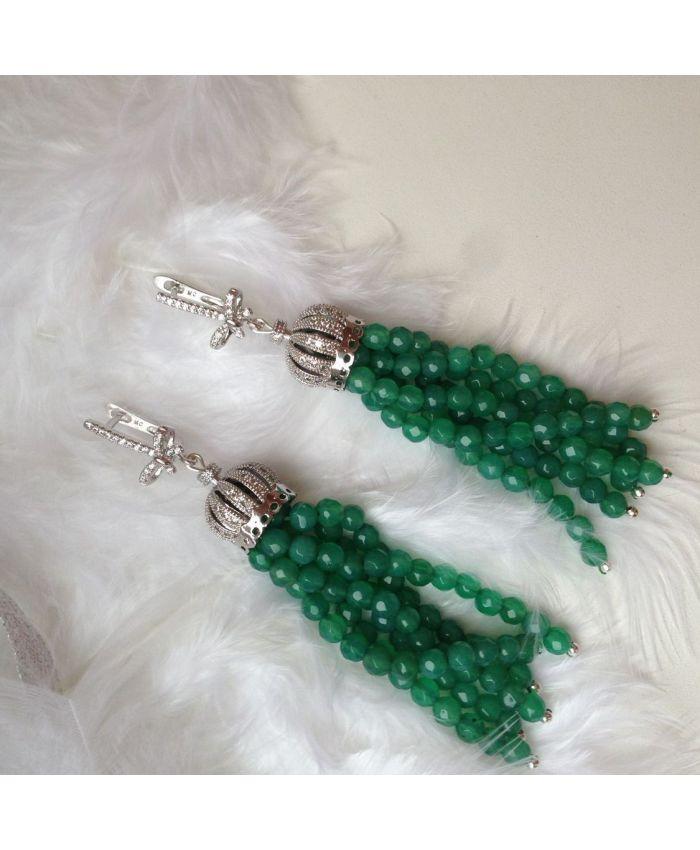 Серьги кисточки из бисера Агат зеленые