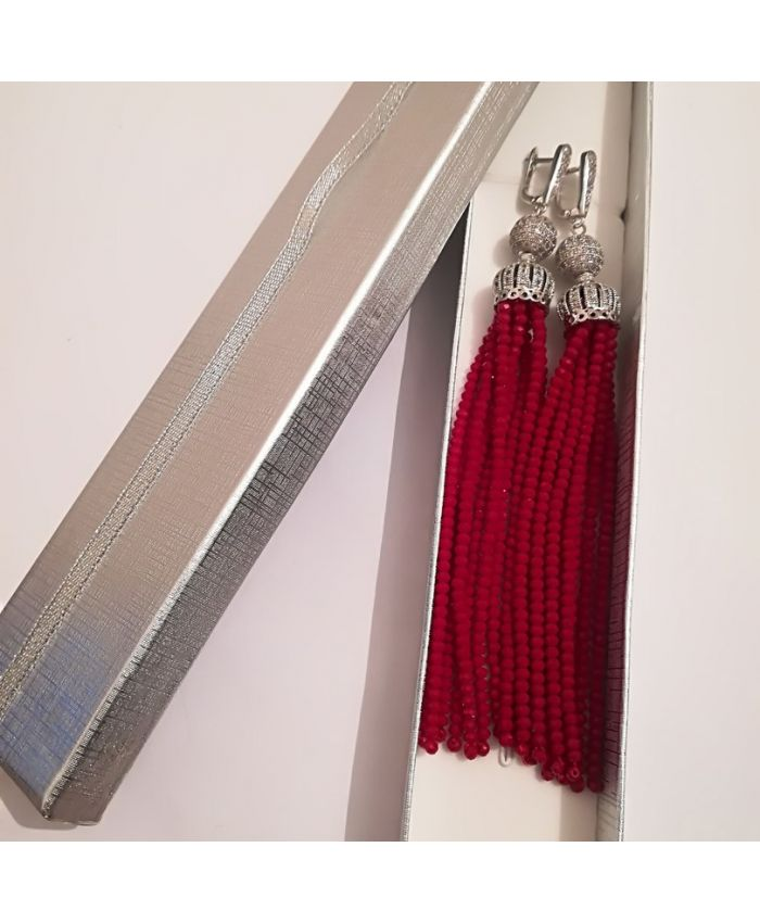 Серьги кисти из бисера хрустальных бусин бордовые  длина 8 - 12см