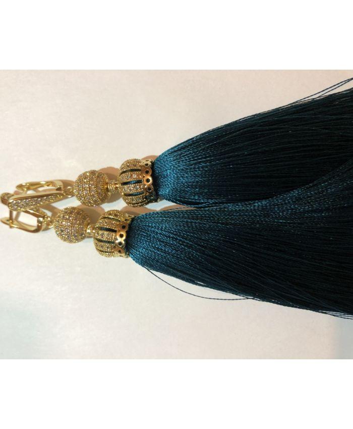 Серьги-кисти Luxury Emerald изумруд цвет 8 - 14 см
