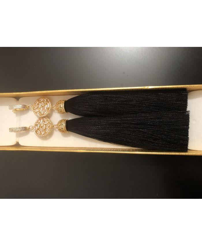 Серьги кисти черные длинные