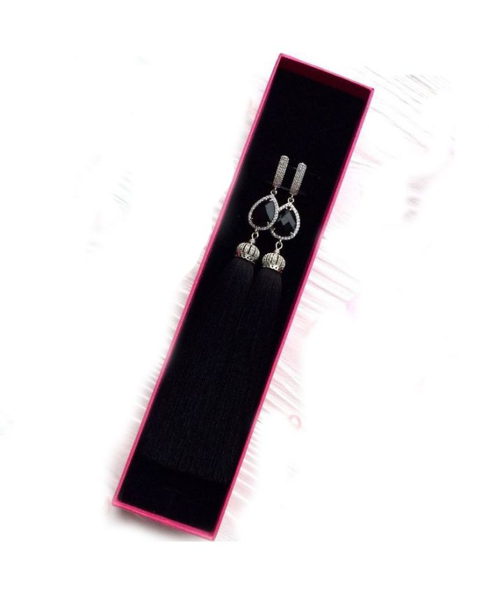 Серьги кисти шелковые Luxury Glass Black чёрные в серебре с фианитами