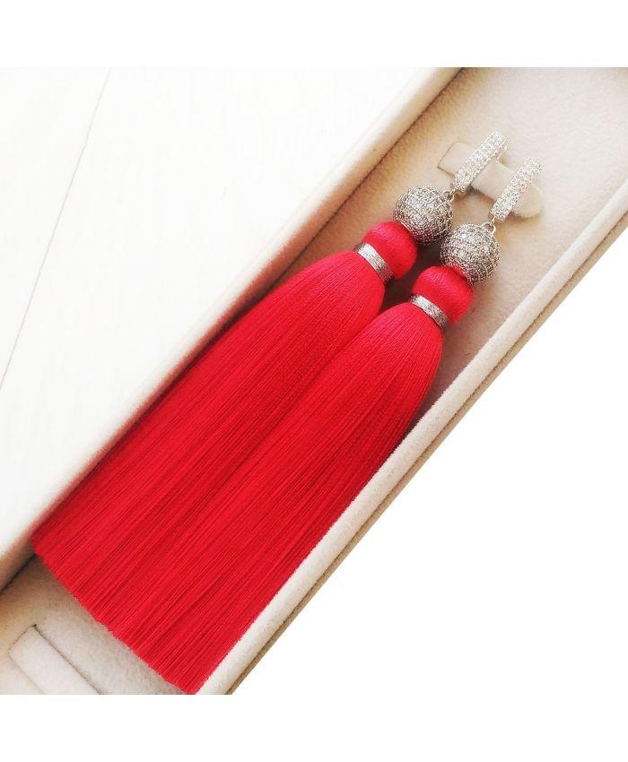 """Серьги кисти красные """"Red """"длина 8 - 14см"""
