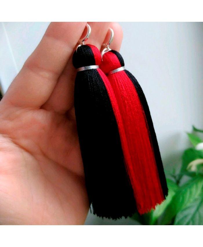 Серьги-кисти «Кармен» красно-черный длина 8-14 см
