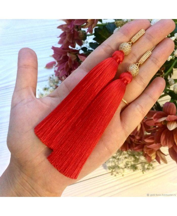 Серьги-кисти Royal red красные алые ярко-красные в золоте  8 - 14 см