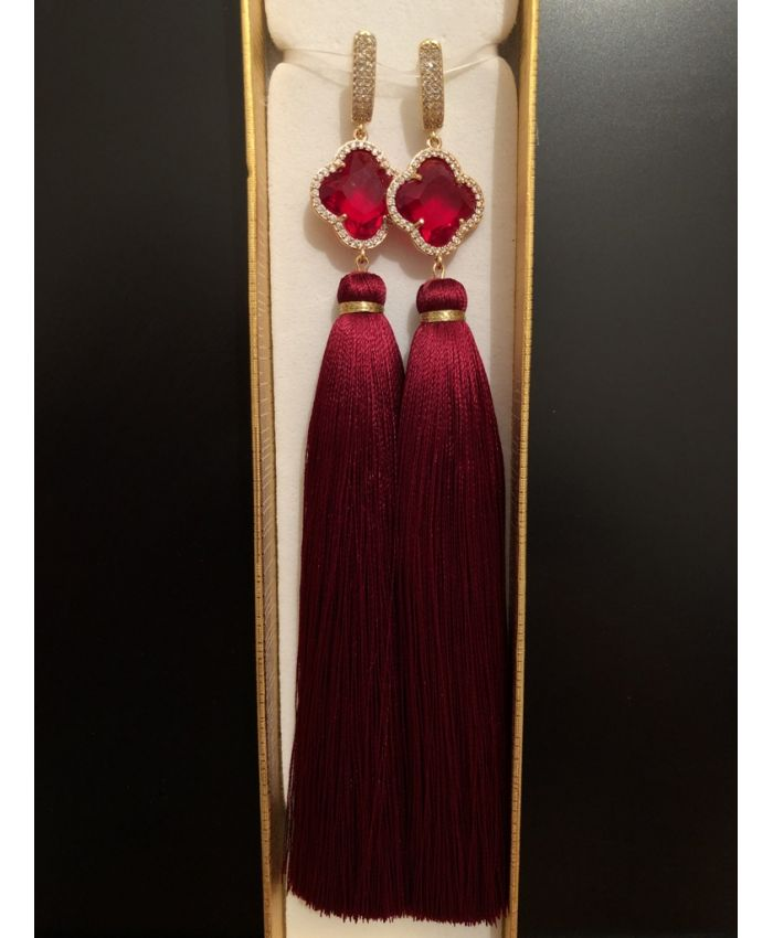 Cерьги кисточки бордовые шелк с клевером