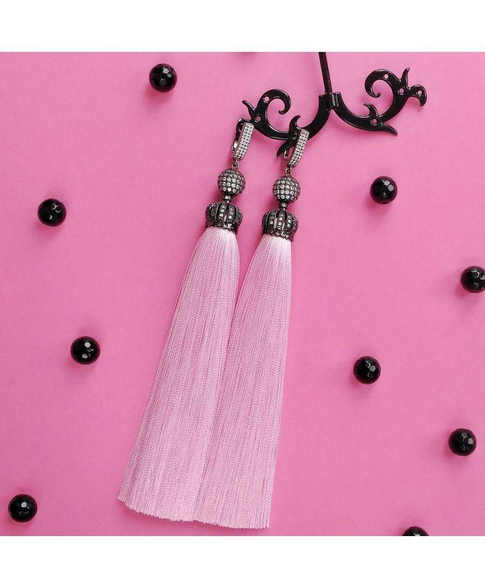 "Серьги кисти "" Premium Lux Фламинго"" розовый длина 8-14см"