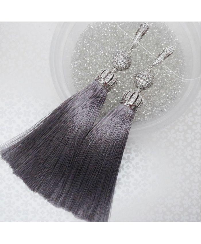 "Серьги кисти ""Premium Lux Lilu"" шелк темно серый длина 8 - 14см"