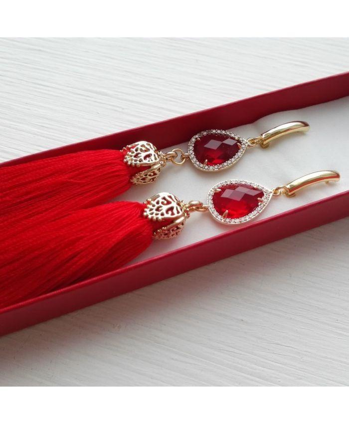 """Серьги кисти красные с кристаллами """"Red lady"""""""