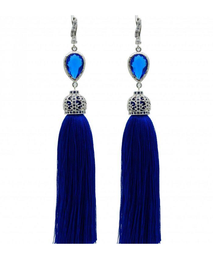 Серьги кисточки синие длина 8 - 14 см