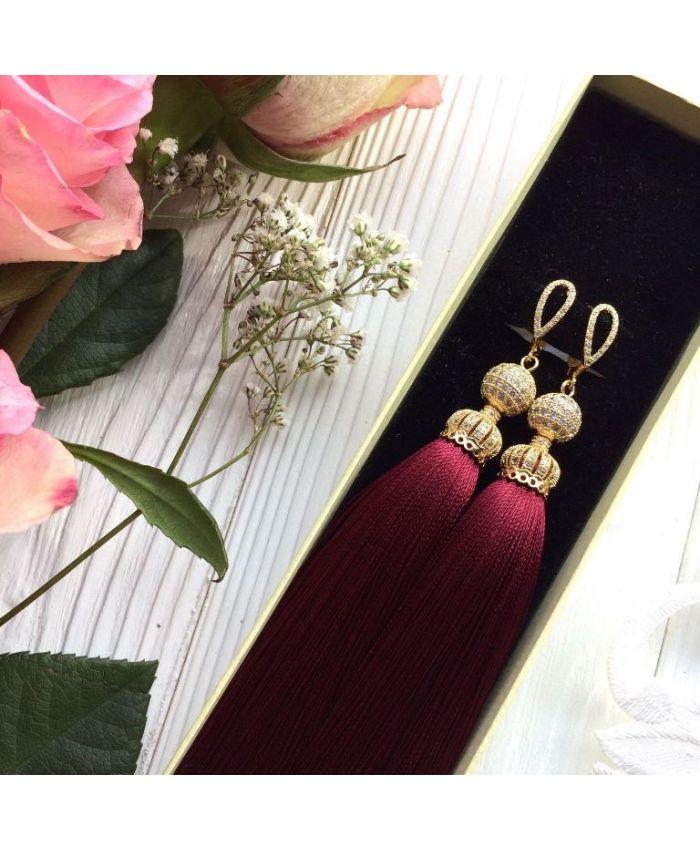 Серьги-кистоки Luxury Burgundy бордовые марсала винные в золоте