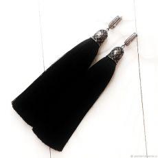 Серьги кисти черном шелке длина 8, 10, 12, 14 см