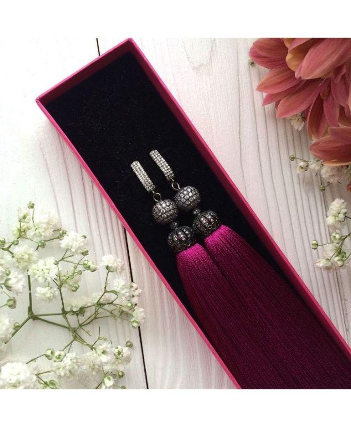 Серьги-кисточки Luxury Purple пурпурные розовые фуксия темно-розовые малиновые