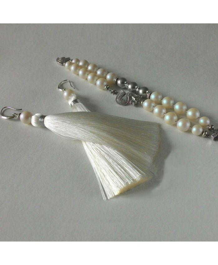 Серьги кисти белые с молочным оттенком + браслет