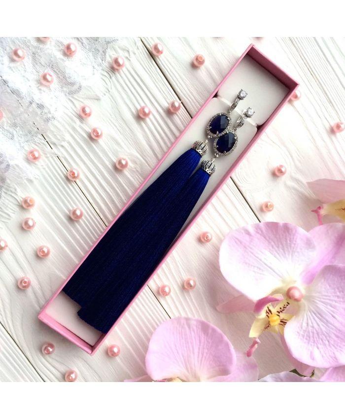 Серьги-кисти Luxury Glass Indigo индиго синий электрик полночный