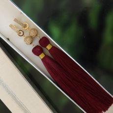 Cерьги кисточки бордовые длина 8-13 см