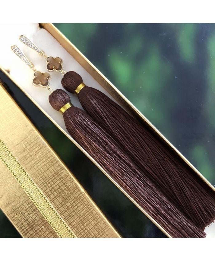 Cерьги кисточки коричневые длина 8-13 см