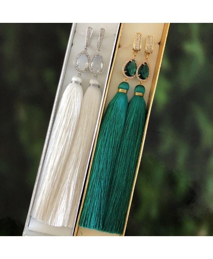 Серьги с кисточками белые длина 8 - 14 см