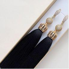 """Cерьги кисточки черные """"Premium Lux black"""" шелк 10-14 см"""