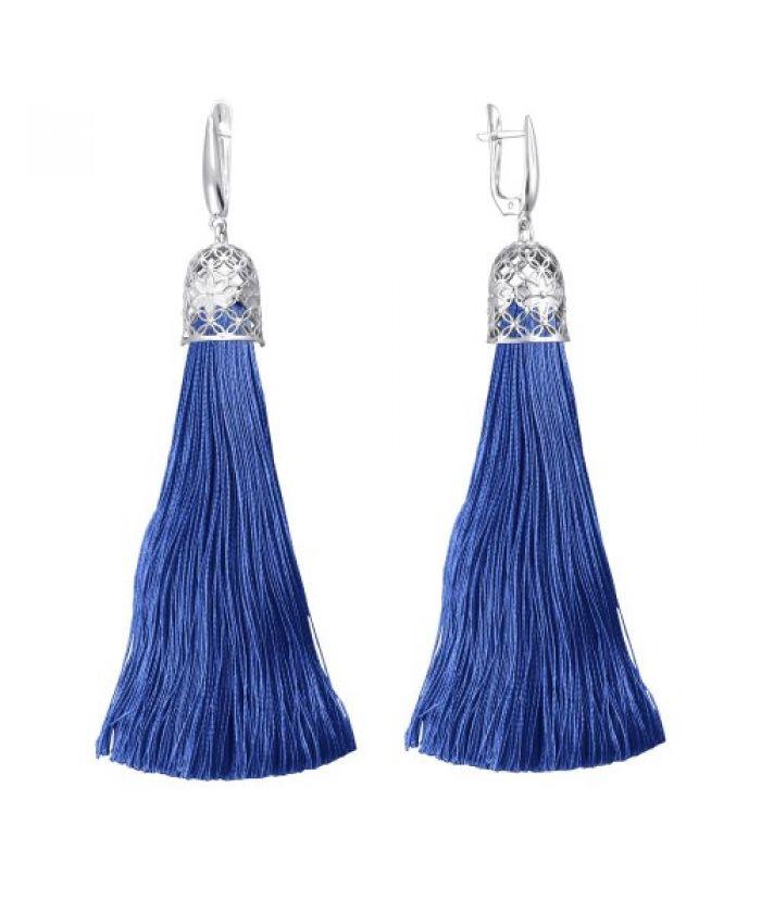 Серьги кисточки с шелковой нитью синие 12см