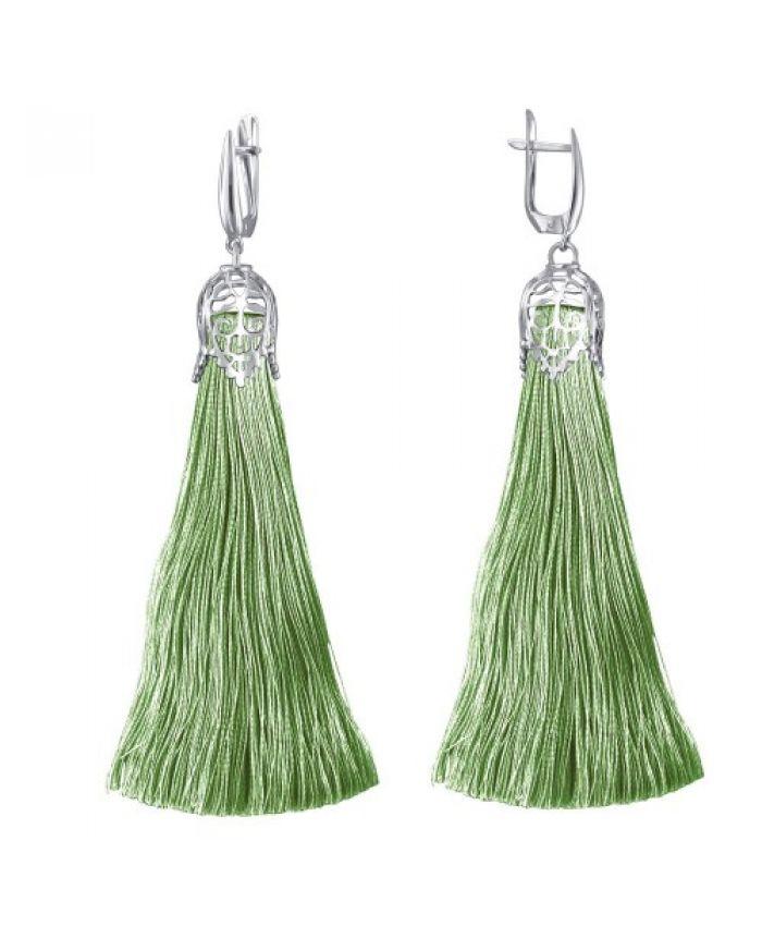 Серьги кисточки с шелковой нитью зеленые длина 12 см