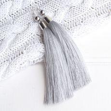 Длинные серебристые серьги кисточки 14 см. Шелк, посеребренные швензы, купол, гематит