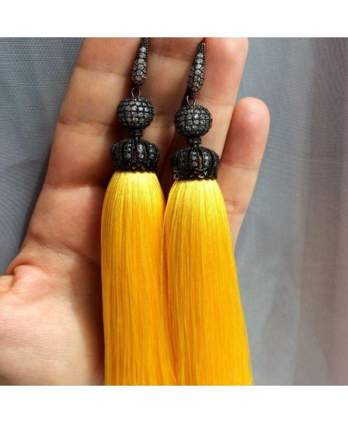 Серьги-кисти желтые LUXURY yellow