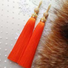 """Серьги кисточки оранжевые """"Premium Lux Orange"""" шелк"""