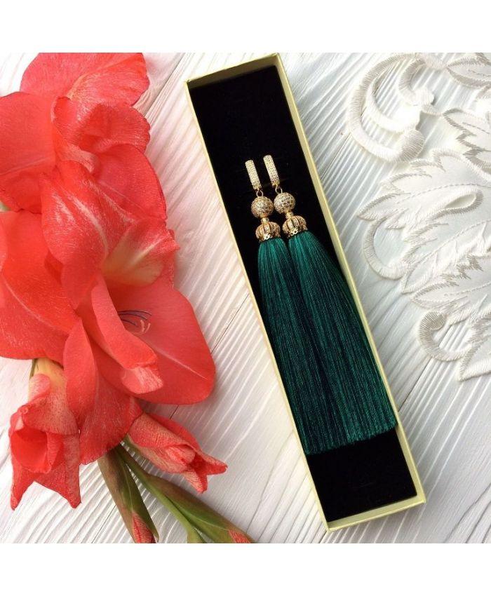 Серьги-кисти Luxury Emerald изумрудные зеленые малахитовые