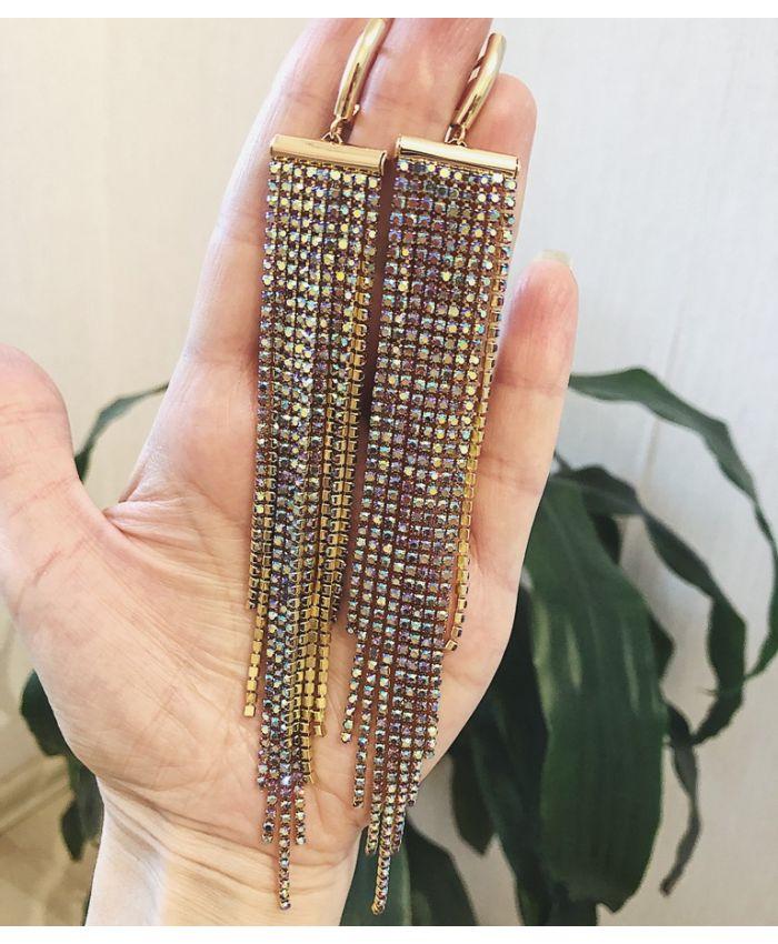 Серьги каскад с цепочками цветные, длина 16см