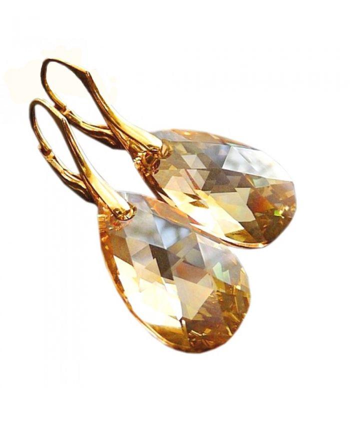 Серьги сваровски Миндалевидные с песочным кристаллом Golden Shadow
