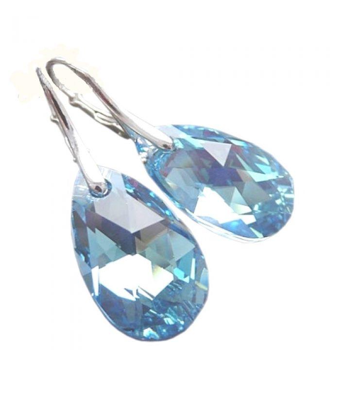 Серьги сваровски с голубым кристаллом