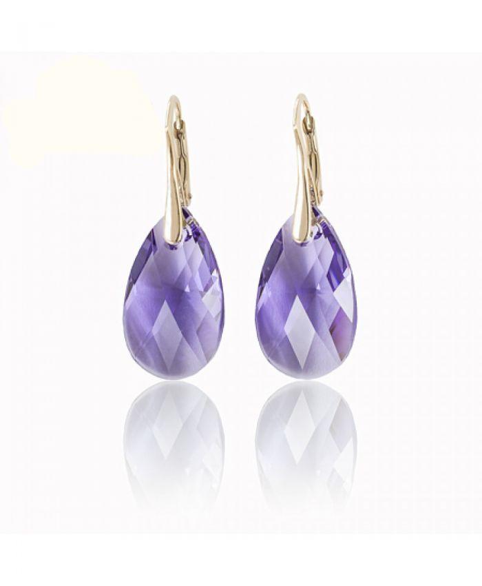Серьги Swarovski  Миндалевидные Tanzanite (фиолетовые)