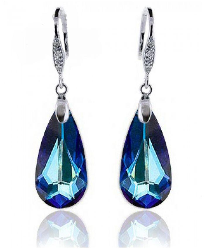 Серьги капельки с кристаллом Swarovski Meridian Blue