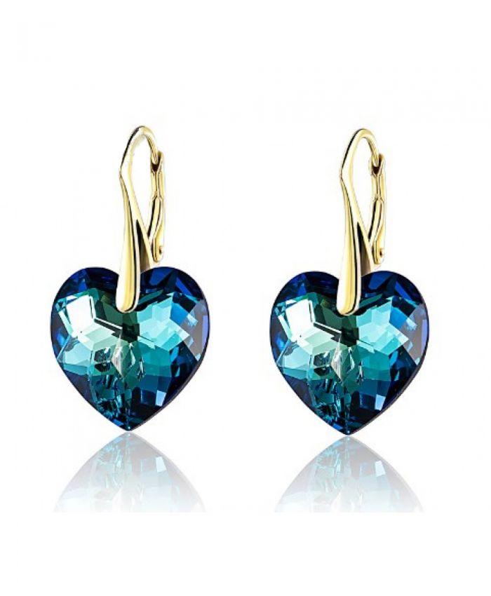 Серьги сваровски сердце синие Bermuda Blue