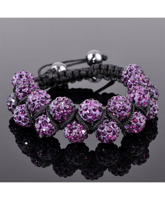 Браслет двухрядный Шамбала фиолетовый