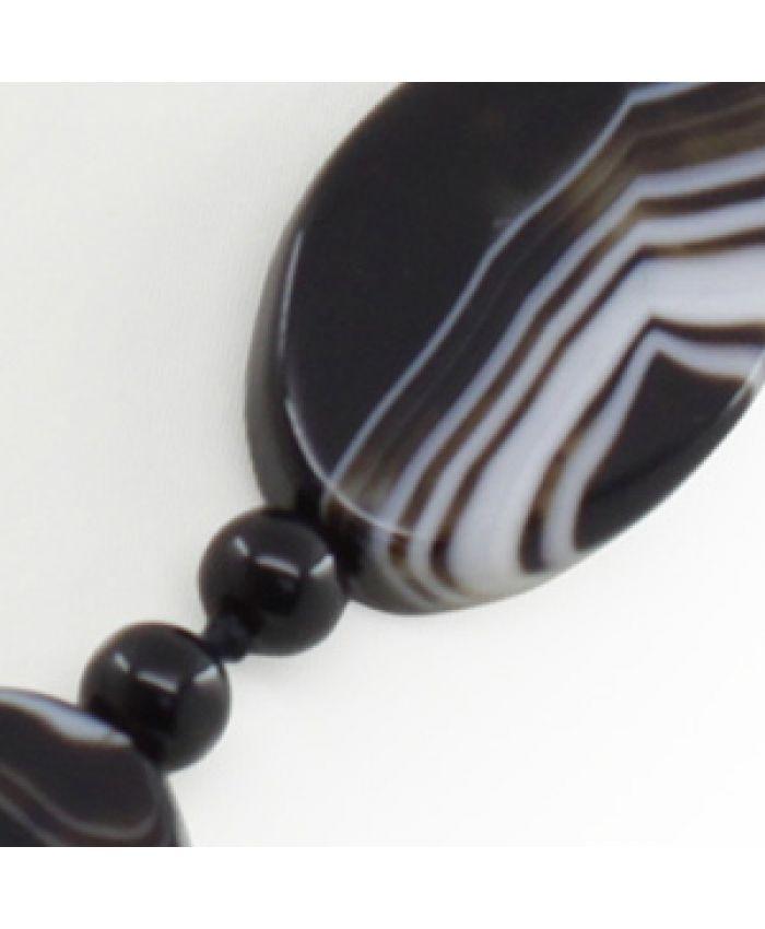 Бусы черные агат, плоские овальные витые 21х30мм, средние 60см