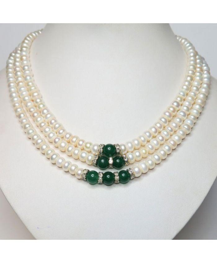 Жемчужное ожерелье 3 ряда. Жемчужины 5мм