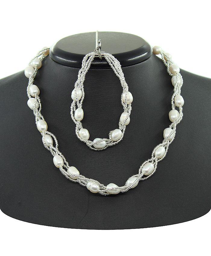 Бусы и браслеты из  жемчуга белый с бисером, овальные, короткие 43см